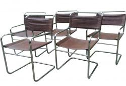 Vintage Chrome and Leather Tubular Chairs S/5