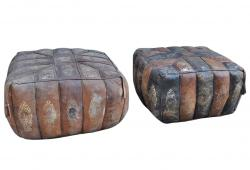 Vintage Egyptian Morrocan Leather Poufs, Pair