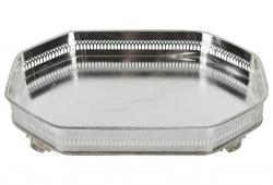 Vintage English Silver Plate Mirrored Barware/ Vanity Tray