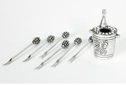 Vintage European Silver Plated Cocktail Fork Set .