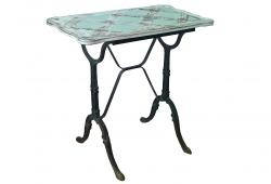 Vintage French Black Bistro Table With Wooden Top