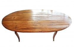 Vintage French Cherry Wood Plank Farm Dining Table
