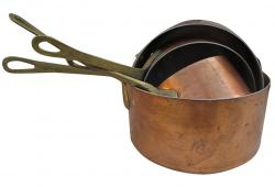 Vintage French Copper Sauce Pans Set of 4