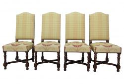 Vintage French Country Camelback Dining Chairs, Set of 4