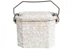 Vintage French Enamel Lunch Pail - Beige