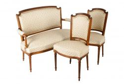 Vintage French Settee with Two Chairs, Set