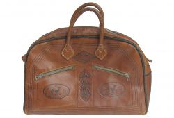 Vintage French Tooled Leather Satchel