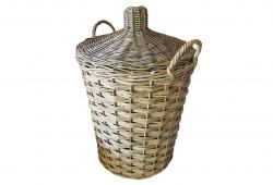 Vintage French Wicker Lidded Storage Basket