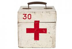 Vintage French Wood First Aid Box
