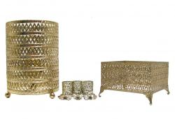 Vintage Gold Filigree Lamp & Vanity Accessories
