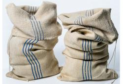 Vintage Grain Sacks with Four Blue Stripes
