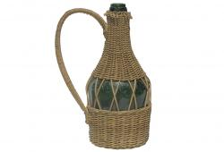 Vintage Green Benedictine Bottle in Basket