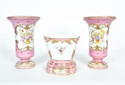 Vintage Hand-Painted French Porcelain Three-Piece Set