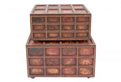 Vintage Hand-Painted Trunks, Set of 2