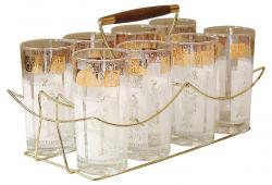 Vintage Highball Glasses in Caddy