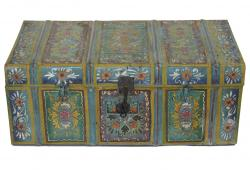 Vintage Hungarian Metal Painted Trunk