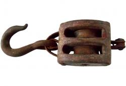 Vintage industrial wood and iron pulley