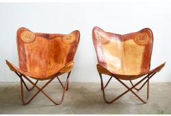 Vintage Leather Butterfly Chairs, Pair