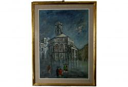 Vintage Oil Painting Florence Baptistery