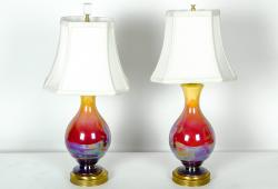 Vintage Pair of Iridescent Porcelain Table Lamps