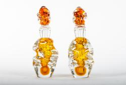 Vintage Pair Murano Glass Orange Perfume Bottle .