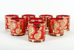 Vintage Red Paisley  Set 8 Whiskey Glass.