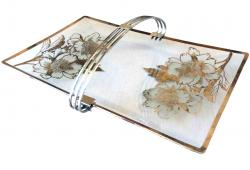 Vintage Rockwell Peony Silver Overlay Tray
