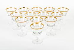 Vintage Set 12 Crystal Champagne Coupe .