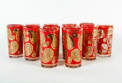 Vintage  Set 12 Red Paisley High Ball Glasses .