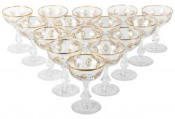 Vintage Set 15 Cut Crystal Champagne Coupes .