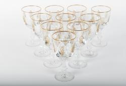 Vintage Set of Ten Cut Crystal Wine or Water Goblets with Gold Design