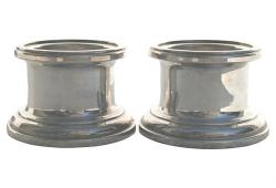 Vintage Silver Column Candle Holders, Pair