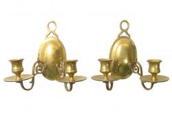 Vintage Two-Arm Brass Candle Sconces, Pair
