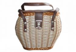 Vintage Wicker Bag with Leather Handles