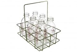 Vintage Wire Milk Bottle Carrier With Six Bottles