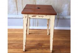 Vintage Wooden Stool, Painted