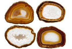 White And Brown Agate Slice Coasters, Set of 4