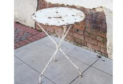 White Rustic Metal Bistro Table