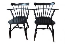 Pair of Black Windsor chairs lowback