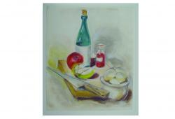 Wine and Apples Pastel Still Life