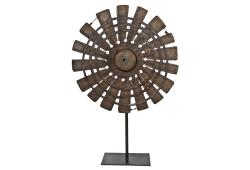 Wood Textile Factory Loom Wheel  On Recycled Iron Stand