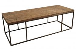 Wood Plank Coffee Table with Steel Frame