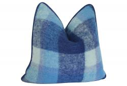Wool Mohair Blue Plaid with Velvet Back Pillow