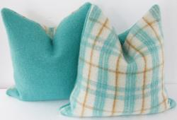 Wool Plaid/Solid Camp Blanket Pillow, Pr