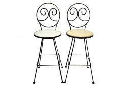 Wrought Iron Bar Stools, Bar Height, Pair