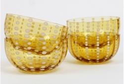 Zafferano Perle Amber Bowls, Set of 4