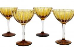 Zafferano Perle Amber Cocktail Glasses, Set of 4