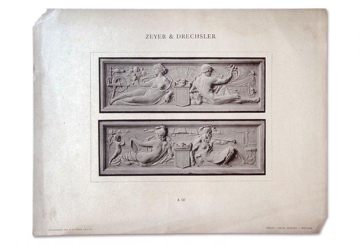 1890's Allegorical Relief Decorations Lithograph