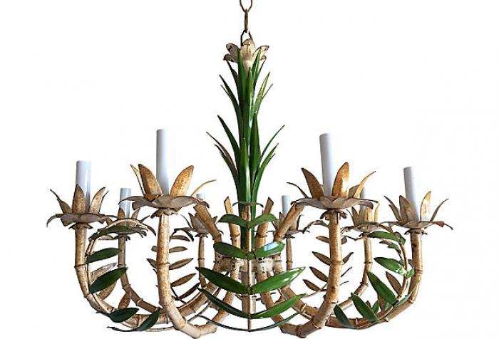 1950s Bamboo Palm Chandelier Omero Home