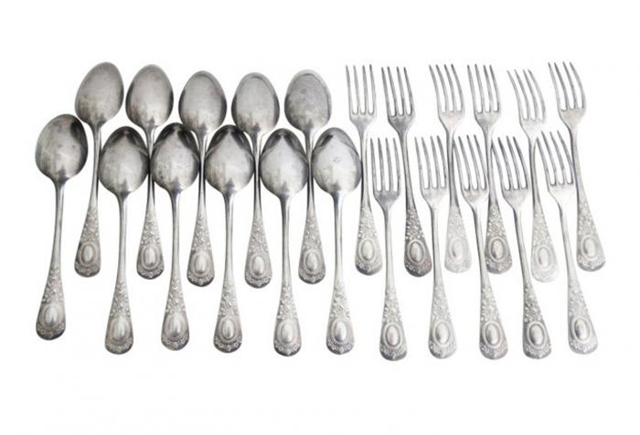 19th C. French Cutlery Set, 22-Pcs